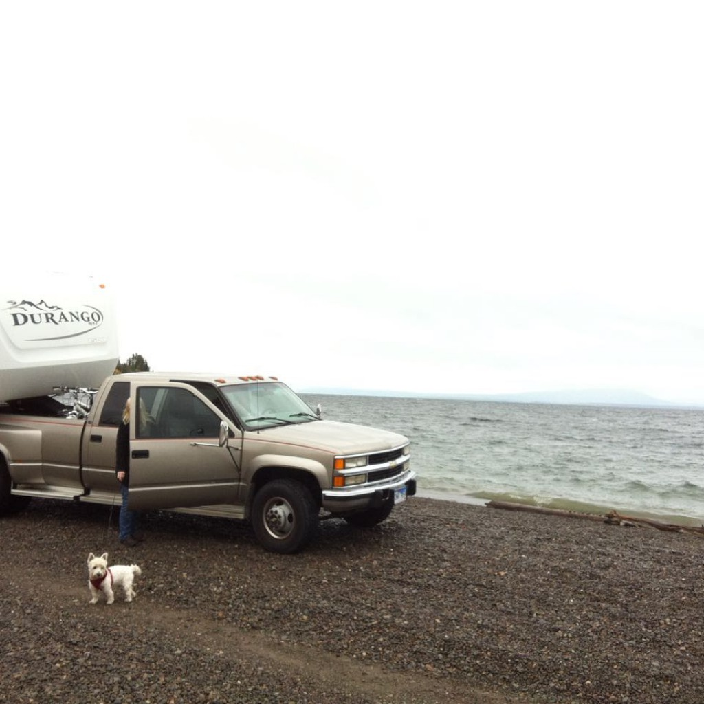 Beached on the shores of freshwater Yellowstone Lake. 20mph winds at 7,500ft with small waves crashing.