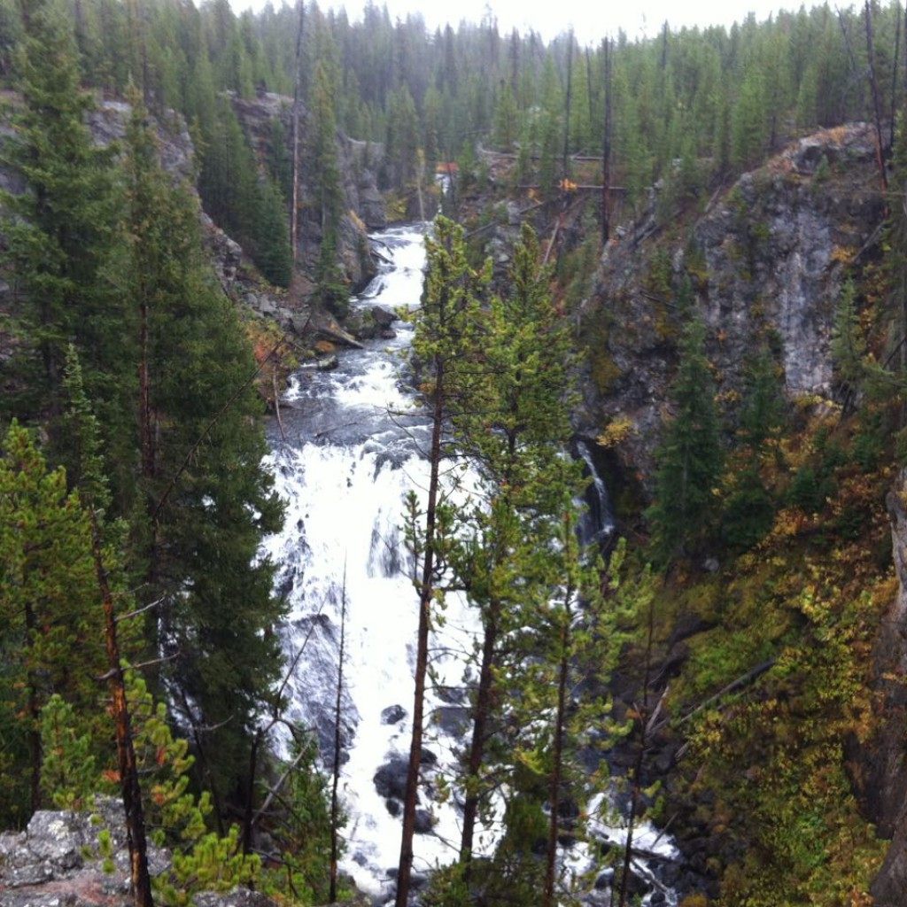 Firehole Canyon falls in rain. Yellowstone NP.