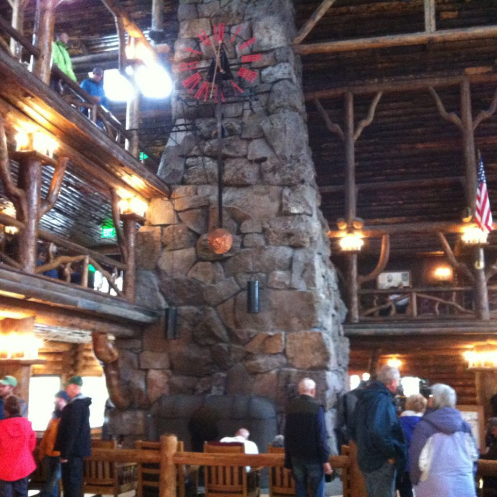 Fireplace and clock - Old Faithful Inn.