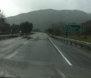 Image of the rain on the highway heading down the west coast towards Palm Springs